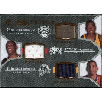 2007/08 Upper Deck SP Rookie Threads Triple #DYW Kevin Durant Thaddeus Young Brandan Wright
