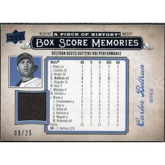 2008 UD A Piece of History Box Score Memories Jersey Blue #BSM37 Carlos Beltran /25