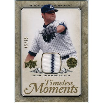 2008 Upper Deck UD A Piece of History Timeless Moments Jersey Gold #34 Joba Chamberlain /75