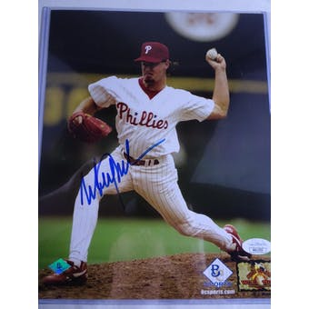 Mitch Williams Philadelphia Phillies Autographed Baseball 8x10 Photo JSA COA #HH11533 (Reed Buy)