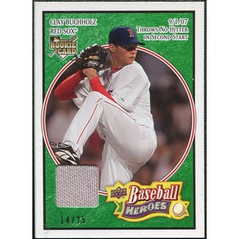 2008 Upper Deck Heroes Jersey Emerald #29 Clay Buchholz /25