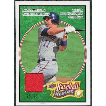 2008 Upper Deck Heroes Jersey Emerald #173 Ryan Zimmerman /25