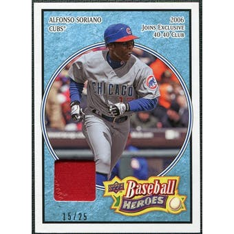 2008 Upper Deck Heroes Patch Light Blue #36 Alfonso Soriano 15/25