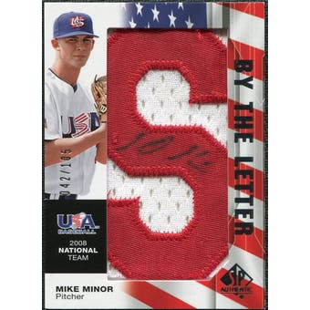2008 Upper Deck SP Authentic USA National Team By the Letter Autographs #MM Mike Minor /105