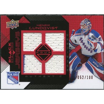 2008/09 Upper Deck Black Diamond Jerseys Quad Ruby #BDJHL Henrik Lundqvist /100