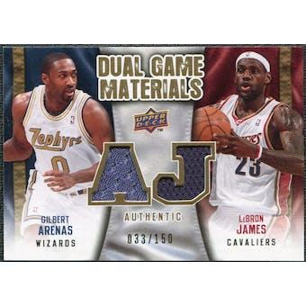 2009/10 Upper Deck Game Materials Dual Gold #DGAJ Gilbert Arenas LeBron James /150