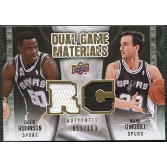 2009/10 Upper Deck Game Materials Dual Gold #DGRG David Robinson Manu Ginobili /150