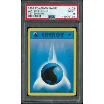 Pokemon Base Set 1st Edition Shadowless Water Energy 102/102 PSA 9