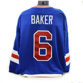 Bill Baker Autographed USA Miracle on Ice Blue Jersey w/ Miracle on Ice (DACW COA)