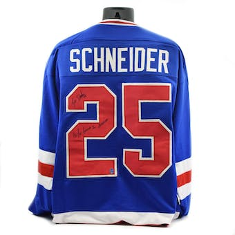 Buzz Schneider Autographed USA Miracle on Ice Blue Jersey w/ Do You Believe in Miracles (DACW COA)