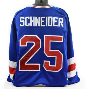 Buzz Schneider Autographed USA Miracle on Ice Blue Jersey w/ Miracle On Ice (DACW COA)