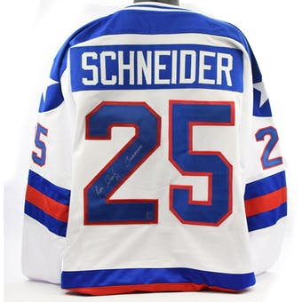 Buzz Schneider Autographed USA Miracle on Ice White Jersey w/ Coneheads (DACW COA)