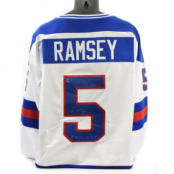Mike Ramsey Autographed USA Miracle on Ice White Jersey w/ Miracle on Ice (DACW COA)