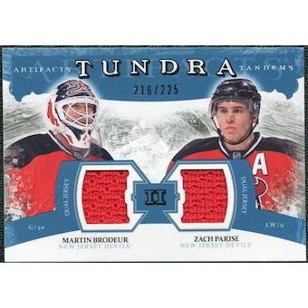 2011/12 Upper Deck Artifacts Tundra Tandems Jerseys Blue #TT2MZ Martin Brodeur / Zach Parise /225
