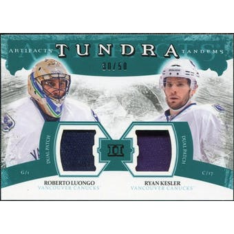 2011/12 Upper Deck Artifacts Tundra Tandems Patches Emerald #TT2LK Roberto Luongo Ryan Kesler /50