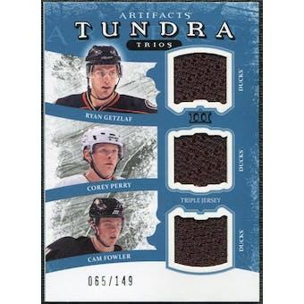 2011/12 Upper Deck Artifacts Tundra Trios Jerseys Blue #TT3ANA Corey Perry Ryan Getzlaf Cam Fowler /149