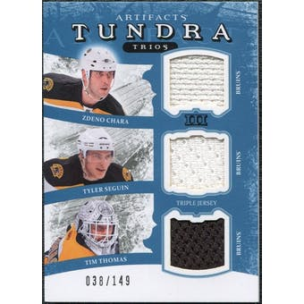 2011/12 Upper Deck Artifacts Tundra Trios Jerseys Blue #TT3BEES Zdeno Chara Tim Thomas Tyler Seguin /149