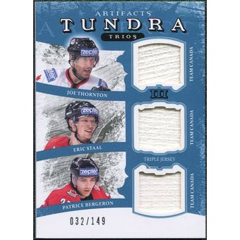 2011/12 Upper Deck Artifacts Tundra Trios Jerseys Blue #TT3CAN Joe Thornton Eric Staal Patrice Bergeron 32/149