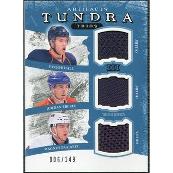 2011/12 Upper Deck Artifacts Tundra Trios Jerseys Blue #TT3EDM Taylor Hall Jordan Eberle Magnus Paajarvi /149