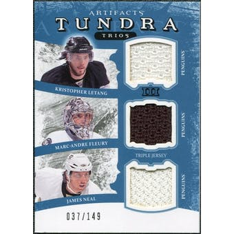 2011/12 Upper Deck Artifacts Tundra Trios Jerseys Blue #TT3PENS Marc-Andre Fleury Kris Letang James Neal /149