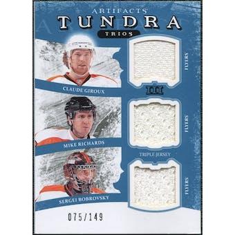 2011/12 Upper Deck Artifacts Tundra Trios Jerseys Blue #PHI Claude Giroux Mike Richards Sergei Bobrovsky /149