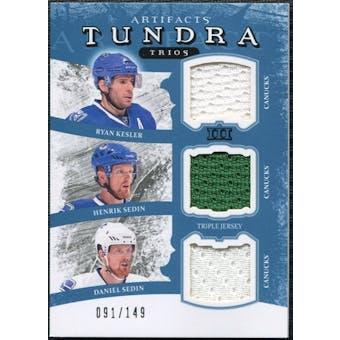 2011/12 Upper Deck Artifacts Tundra Trios Jerseys Blue #TT3VAN Ryan Kesler Henrik Daniel Sedin /149