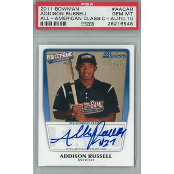 2011 Bowman AFLAC Baseball #AACAR Addison Russell Auto #/229 PSA 10 (Gem Mint) *6548 (Reed Buy)