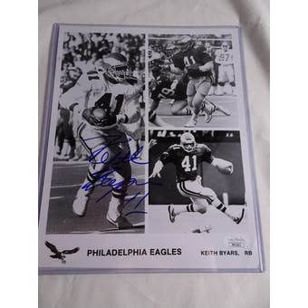 Keith Byars Philadelphia Eagles Autographed Football 8x10 Photo JSA #HH11611 (Reed Buy)