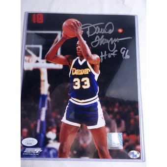 David Thompson Denver Nuggets Autographed Basketball 8x10 Photo JSA #H11601 (Reed Buy)