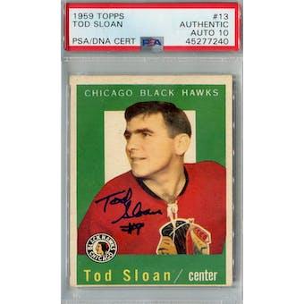 1959/60 Topps Hockey #13 Tod Sloan PSA AUTH Auto 10 *7240 (Reed Buy)