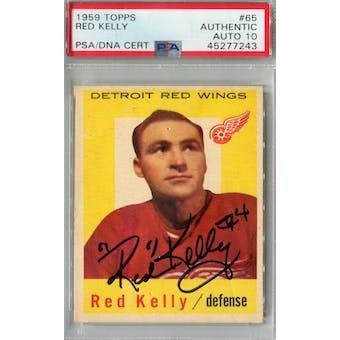 1959/60 Topps Hockey #65 Red Kelly PSA AUTH Auto 10 *7243 (Reed Buy)