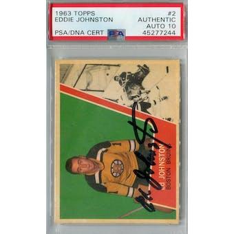 1963/64 Topps Hockey #2 Eddie Johnston PSA AUTH Auto 10 *7244 (Reed Buy)