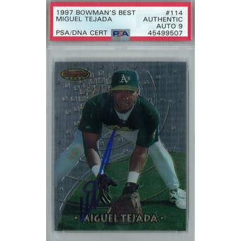 1997 Bowman's Best Baseball #114 Miguel Tejada RC PSA AUTH Auto 9 *9507 (Reed Buy)