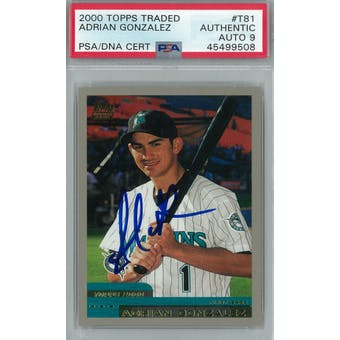 2000 Topps Traded Baseball #T81 Adrian Gonzalez RC PSA AUTH Auto 9 *9508 (Reed Buy)