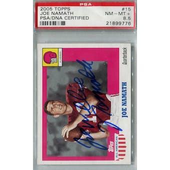 2005 Topps All-American Football #15 Joe Namath PSA 8.5 (NM-MT+) Auto AUTH *9776 (Reed Buy)