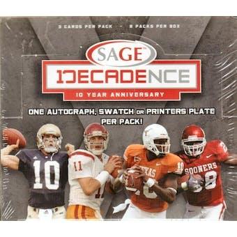 2007 Sage Decadence Football Hobby Box