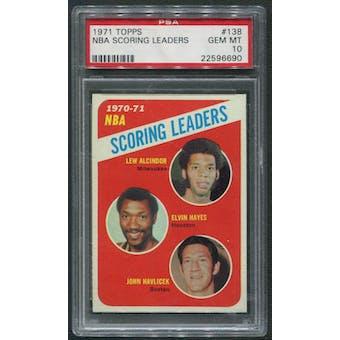 1971/72 Topps #138 NBA Scoring Leaders Lew Alcindor Elvin Hayes John Havlicek PSA 10 (GEM MT)