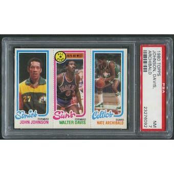 1980/81 Topps Basketball #78 John Johnson Walter Davis Nate Archibald PSA 7 (NM)