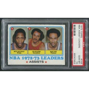 1973/74 Topps Basketball #158 NBA Assist Leaders Nate Archibald Len Wilkens Dave Bing PSA 10 (GEM MT)