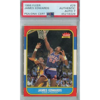1986/87 Fleer Basketball #29 James Edwards PSA/DNA Auto 7 *8329 (Reed Buy)