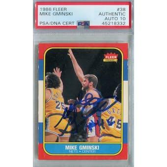 1986/87 Fleer Basketball #38 Mike Gminski PSA/DNA Auto 10 *8332 (Reed Buy)