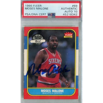 1986/87 Fleer Basketball #69 Moses Malone PSA/DNA Auto 10 *8342 (Reed Buy)