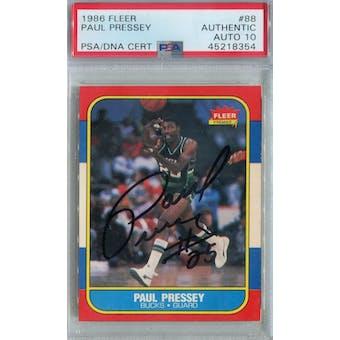 1986/87 Fleer Basketball #88 Paul Pressey RC PSA/DNA Auto 10 *8354 (Reed Buy)