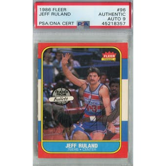 1986/87 Fleer Basketball #96 Jeff Ruland PSA/DNA Auto 9 *8357 (Reed Buy)