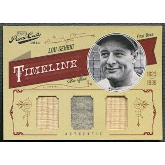 2012 Prime Cuts #32 Lou Gehrig Timeline Trios Materials Bat Jersey #20/25