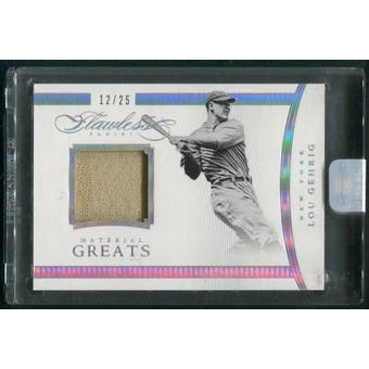 2016 Panini Flawless #14 Lou Gehrig Material Greats Jersey #12/25