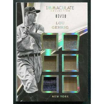 2016 Immaculate Collection #23 Lou Gehrig Immaculate Six Memorabilia Bat Jersey #02/10