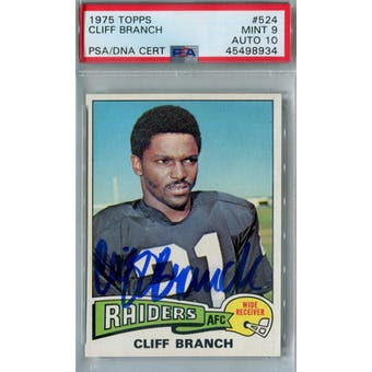 1975 Topps Football #524 Cliff Branch RC PSA 9 (Mint) Auto 10 *8934 (Reed Buy)