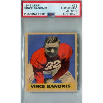 1949 Leaf Football #38 Vince Banonis RC PSA AUTH Auto 9 *8575 (Reed Buy)