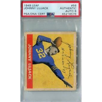 1949 Leaf Football #56 Johnny Lujack RC PSA AUTH Auto 8 (Heisman '47) *8576 (Reed Buy)